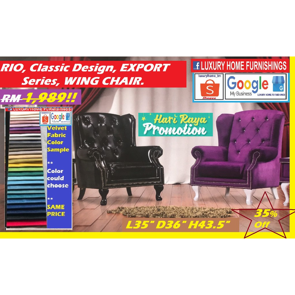 Rio, Classic Design, Export Series WING chair, Available in fabric/ casa leather!! HARI RAYA PROMOTION!! 35% Off!!