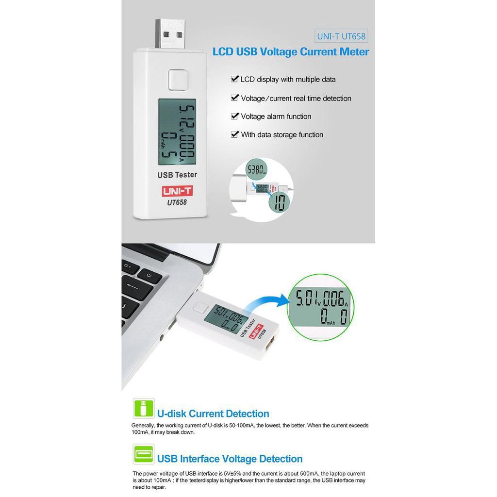 Dafi Uni T Ut658 Digital Lcd Usb Voltage Current Meter U Disk Data Like 0