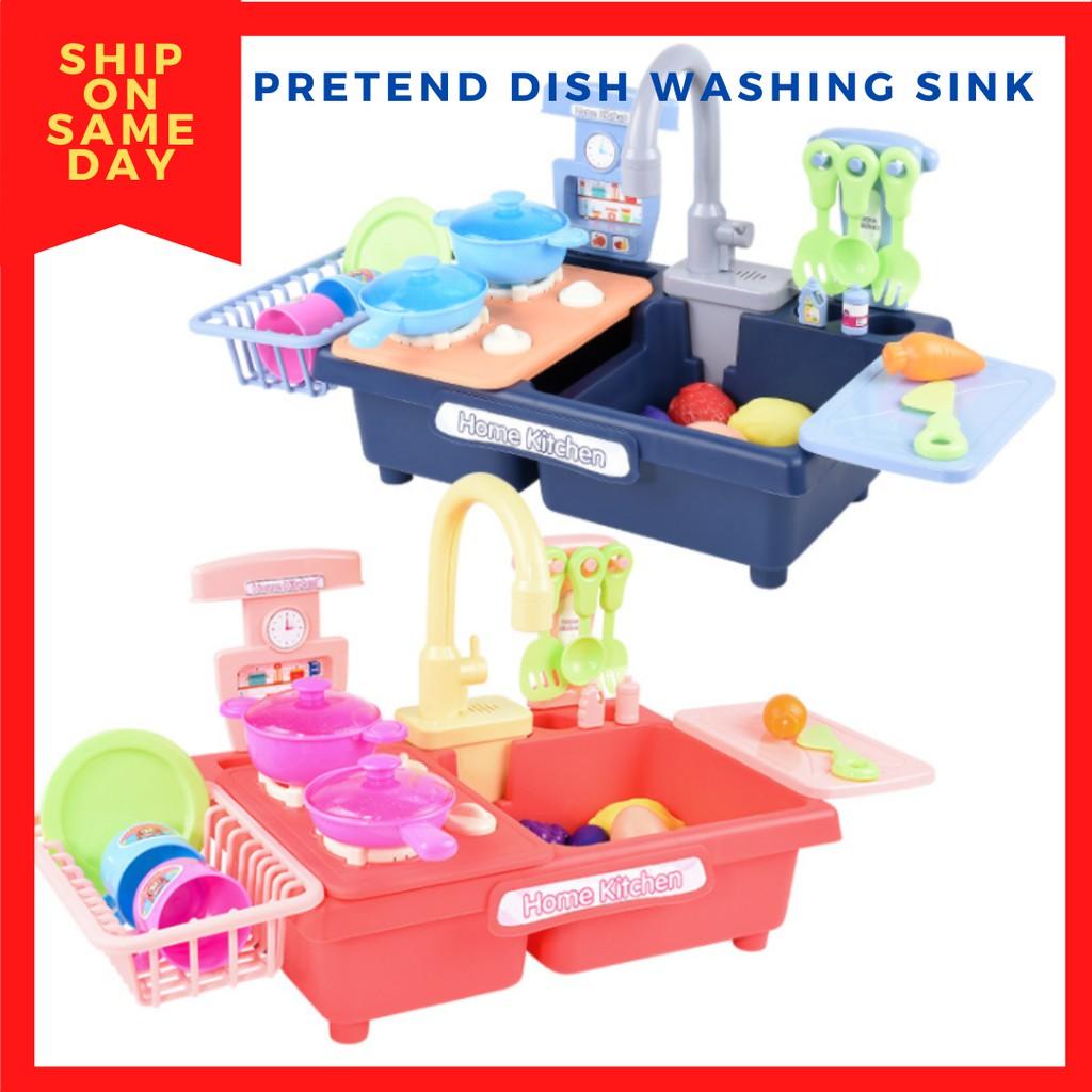 Children Kitchen Dish Washing Sink Dishwasher Pretend Play Set Electric Circulation Toy Sinki Mainan Stimulated