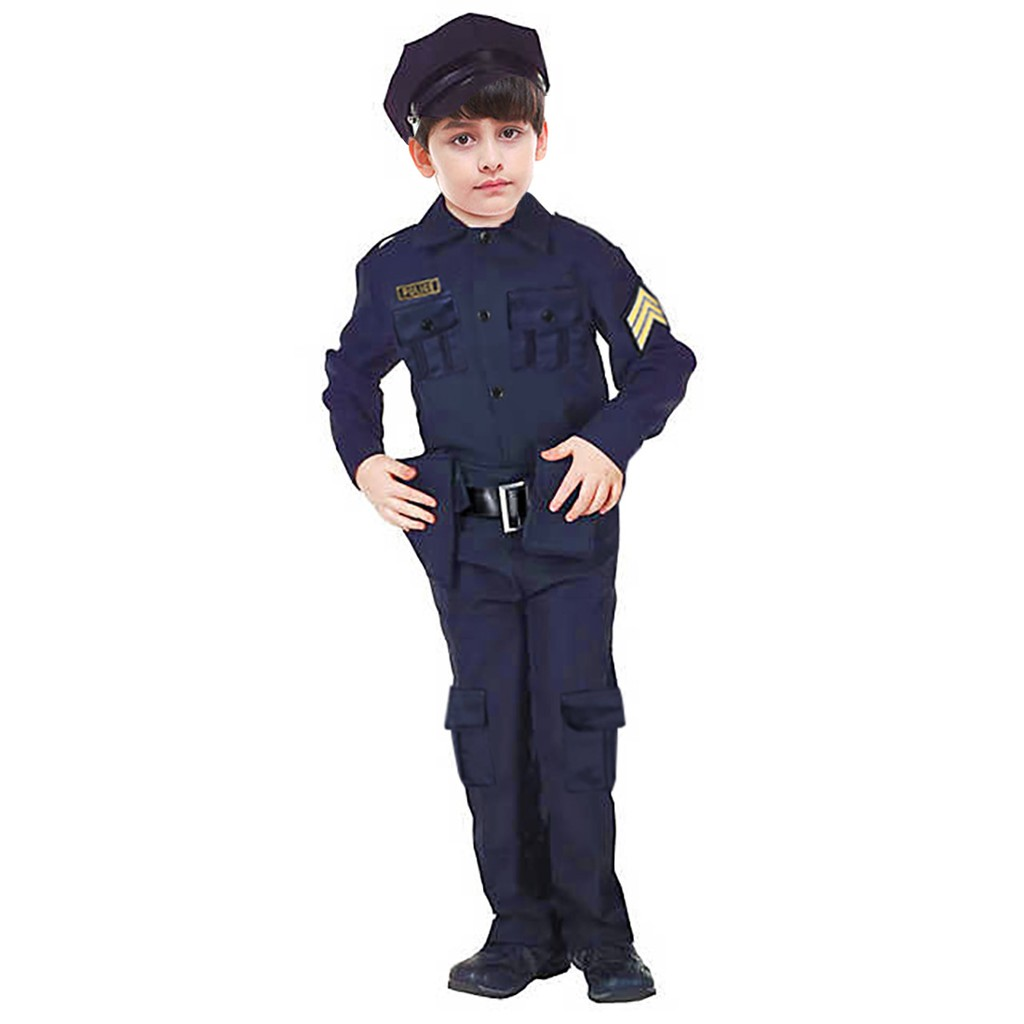 2-3Y, Black Police Officer Costume for Kids Deluxe Halloween Dress up