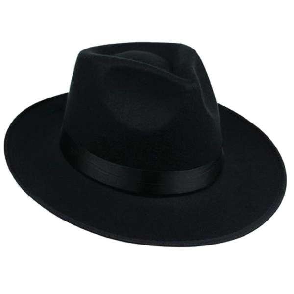 92a2508332906 Unisex Men Women Hats Caps Panama Fedora Trilby Straight Wide Brim Hard  Felt Black SUN