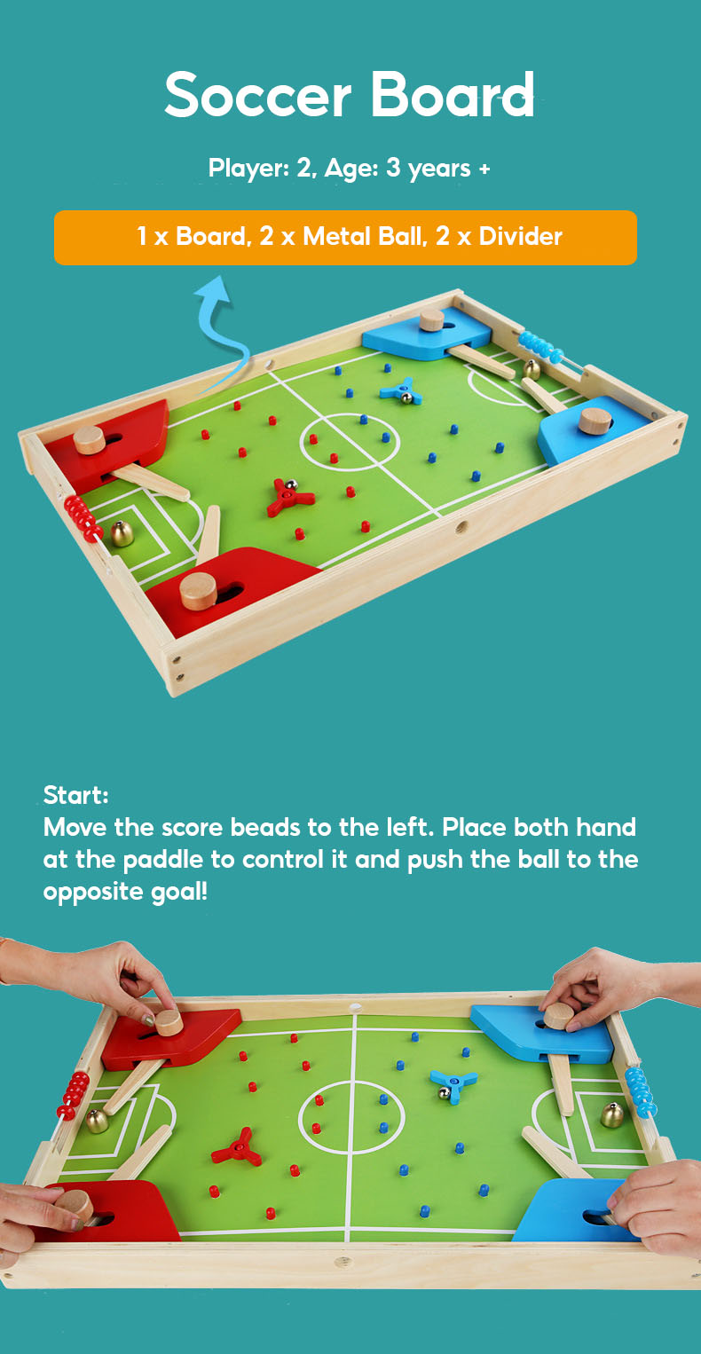 3 in 1 Foldable Wooden Board Game Football Soccer Ludo Backgammon Chess Family Party Game Board Keluarga Dam Card GAME