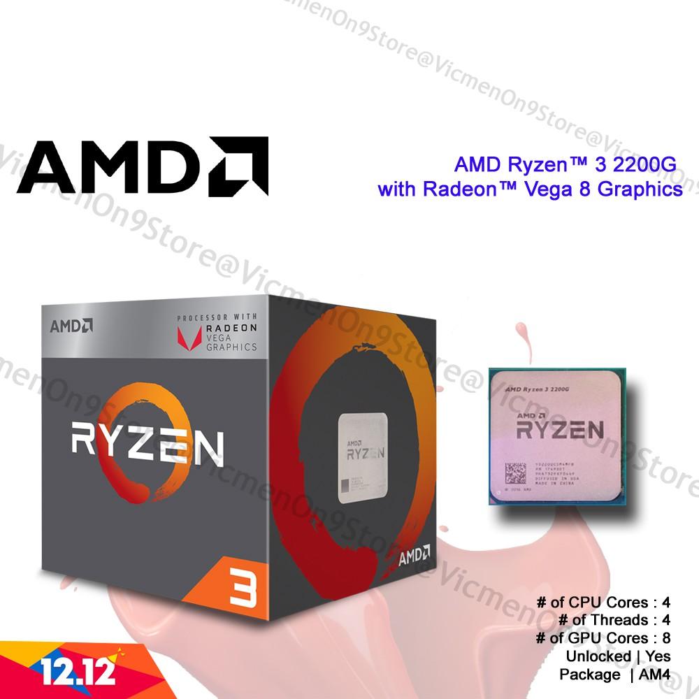Amd Ryzen 3 2200g With Radeon Vega 8 Graphics Processor Shopee