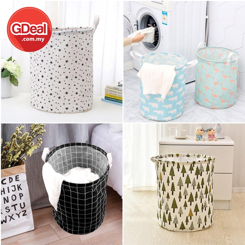 GDeal Home Organization Cotton And Linen Laundry Basket Storage Bucket Bakul Baju باكول باجو