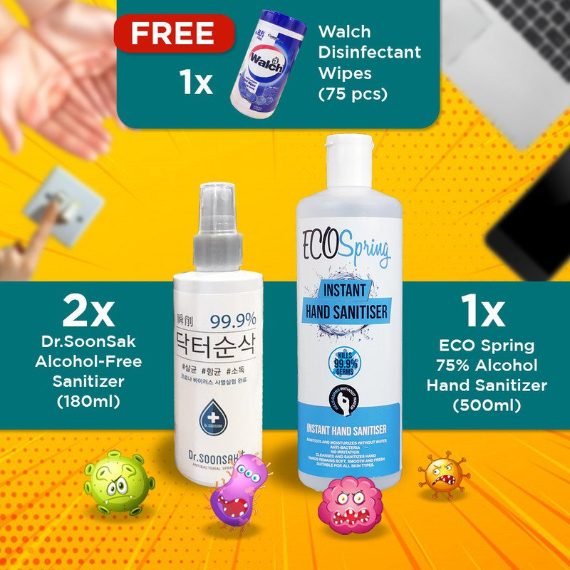 【0 Toxic Harmless Korea Sanitiser】(2)Dr.Soonsak + (1)Ecospring + Walch Wet Wipes