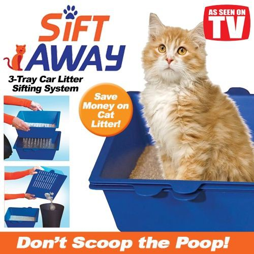 Cat Self Sifting Litter Box-3 Part System-Don't Scoop The Cat Poo Sift Away