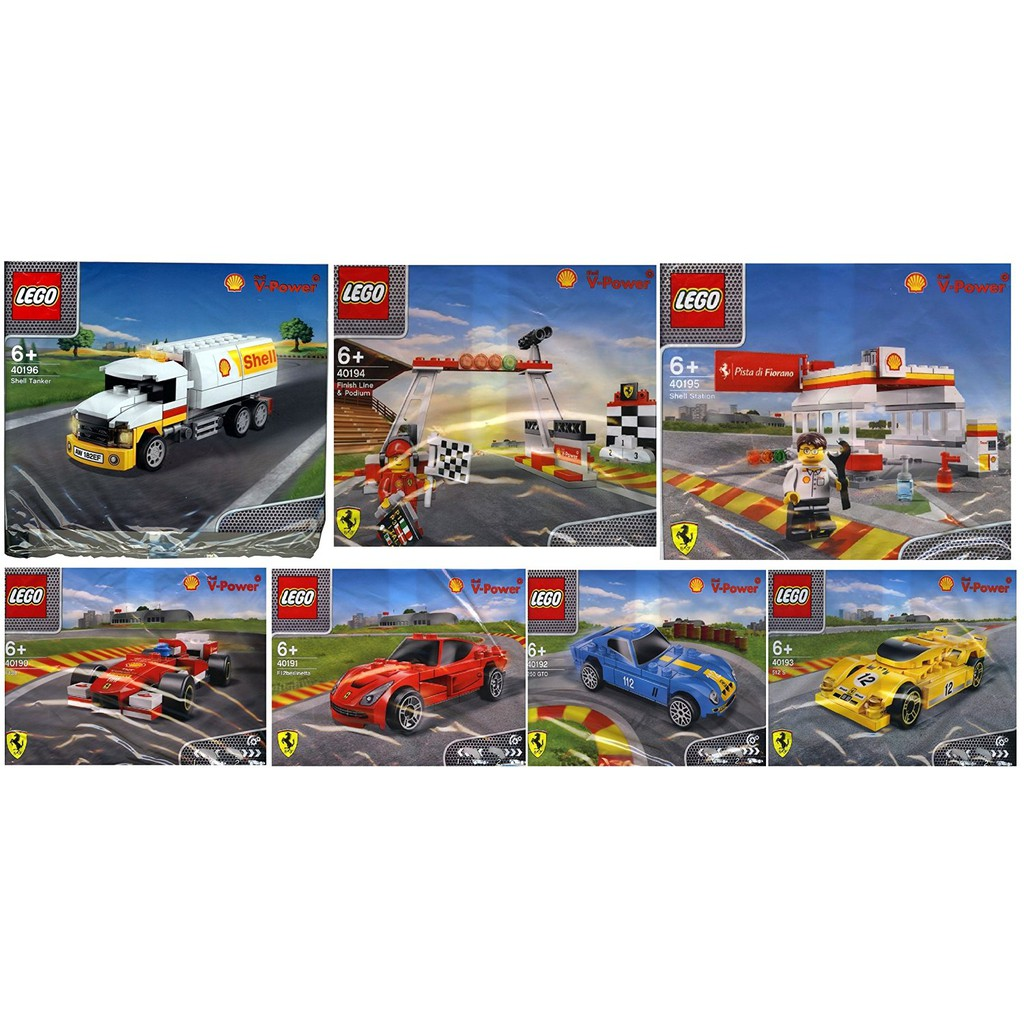 Lego Shell Shell Station Ferrari Red White Ferrari Yellow Ferrari Red Ferrari Blue Finish Line Shopee Malaysia