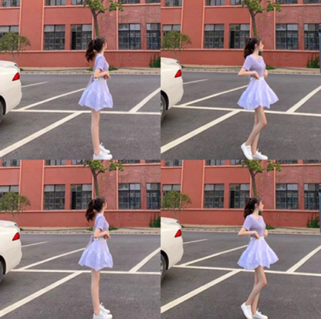 [S~M] Korean Striped top➕High Waist skirt Suit 泫雅套装两件套心机t恤女小众短款露背上衣高腰a字短裙百褶半身裙