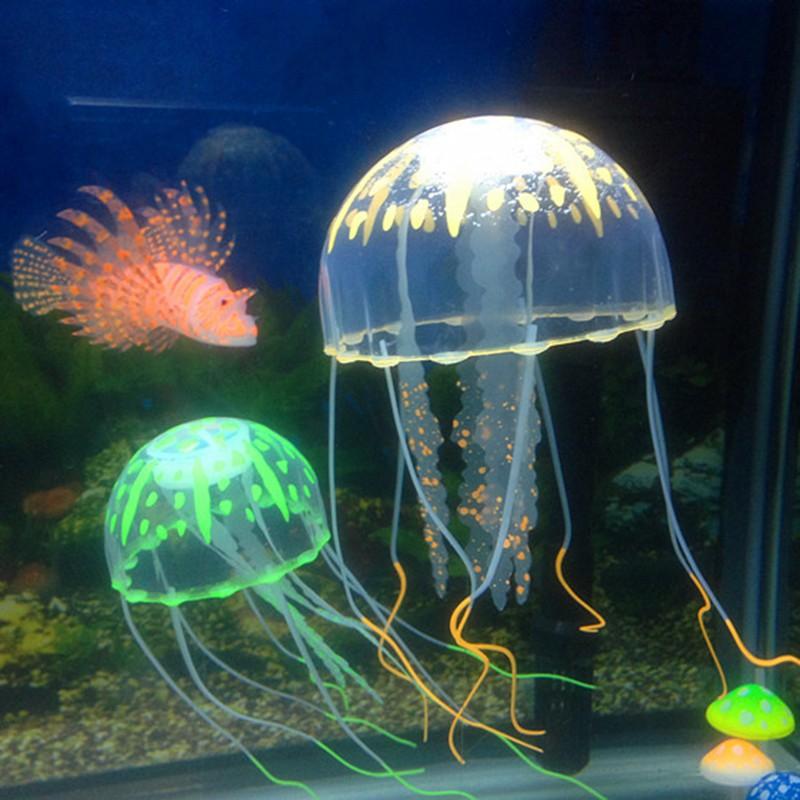 Artificial Glowing Effect Fish Tank Decoration Aquarium Jellyfish Ornament Wxid