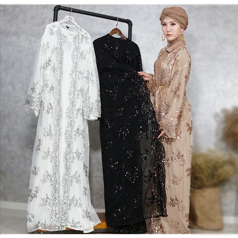 375e3ed1d9c56 Luxury Embroidery Sequins Abaya Muslim Maxi Dress Cardigan Long Robe Jubah  Kimono Ramadan Arab Islamic Worship Service