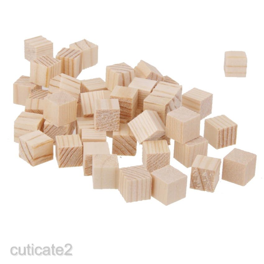 100x Wooden Blocks Mini Cubes Embellishment for Woodwork Craft Scrapbooking