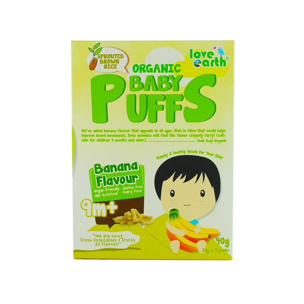 Organic Baby Puffs Banana 40G (10G X 4 Serving)