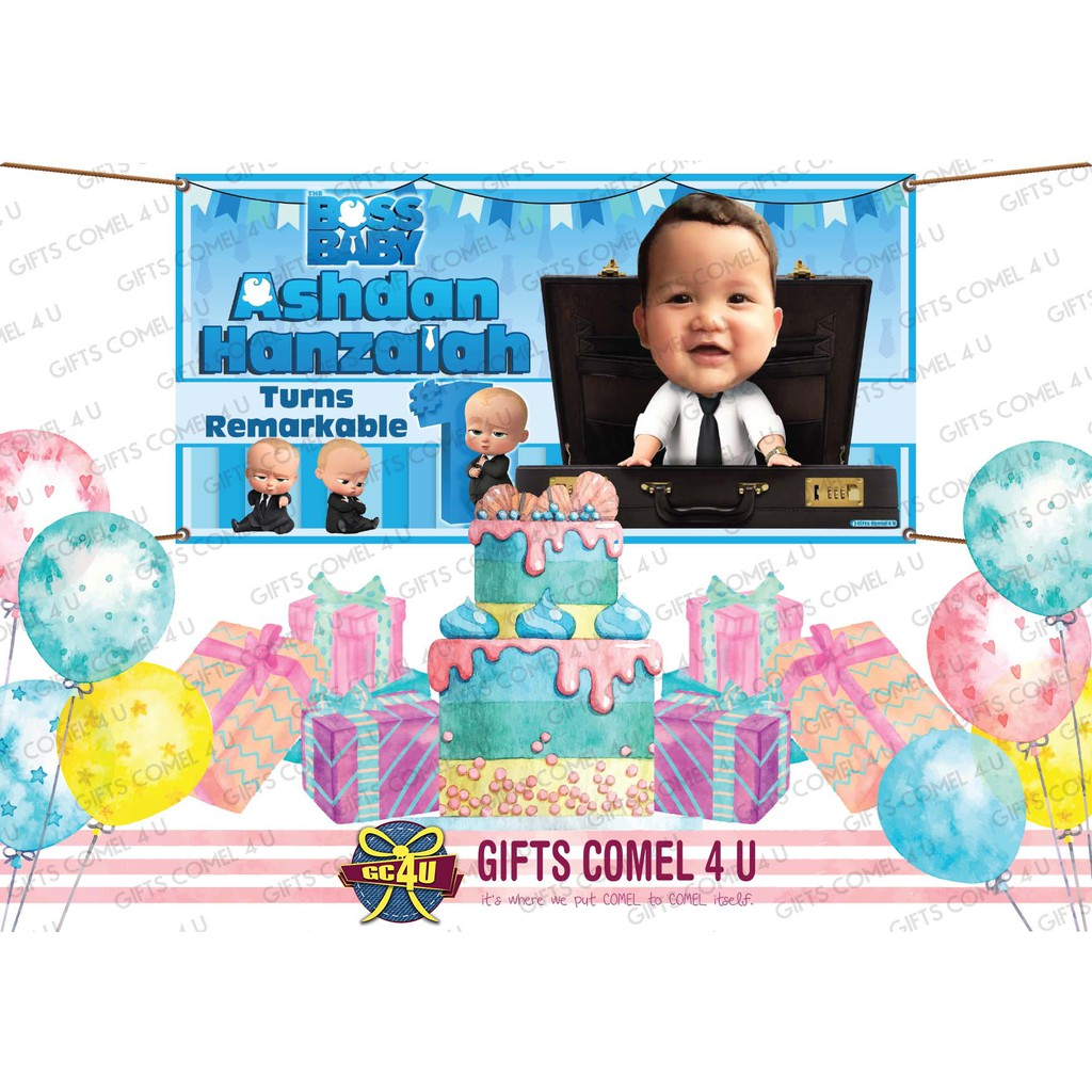 The Boss Baby Theme Backdrop Banner Birthday Shopee Malaysia