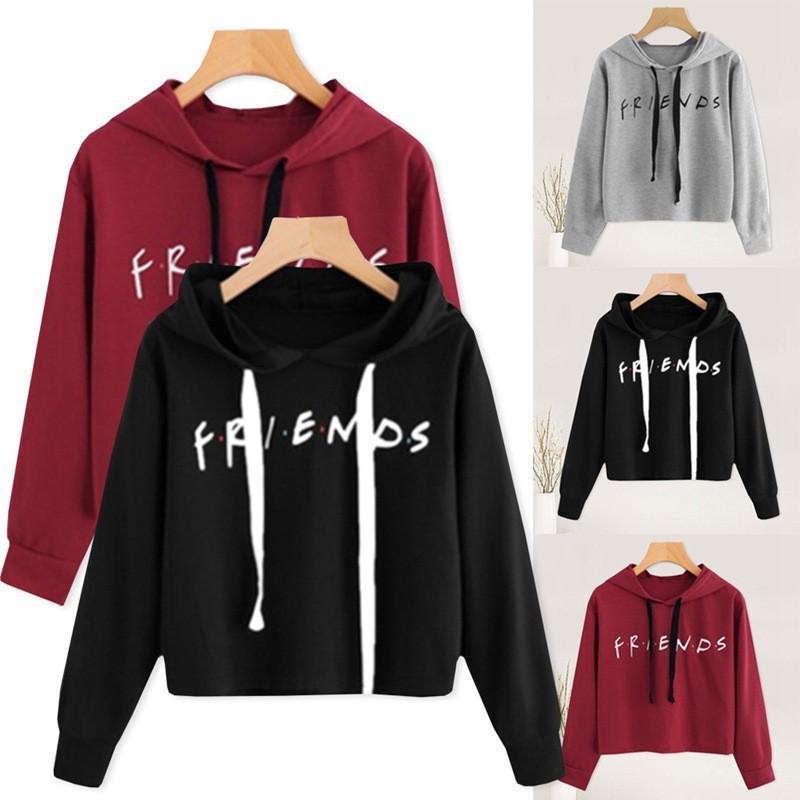 2292177c Women Hoodies Friend Letter Printed Hoodie Casual Crop Tops K-pop Short  Pullover