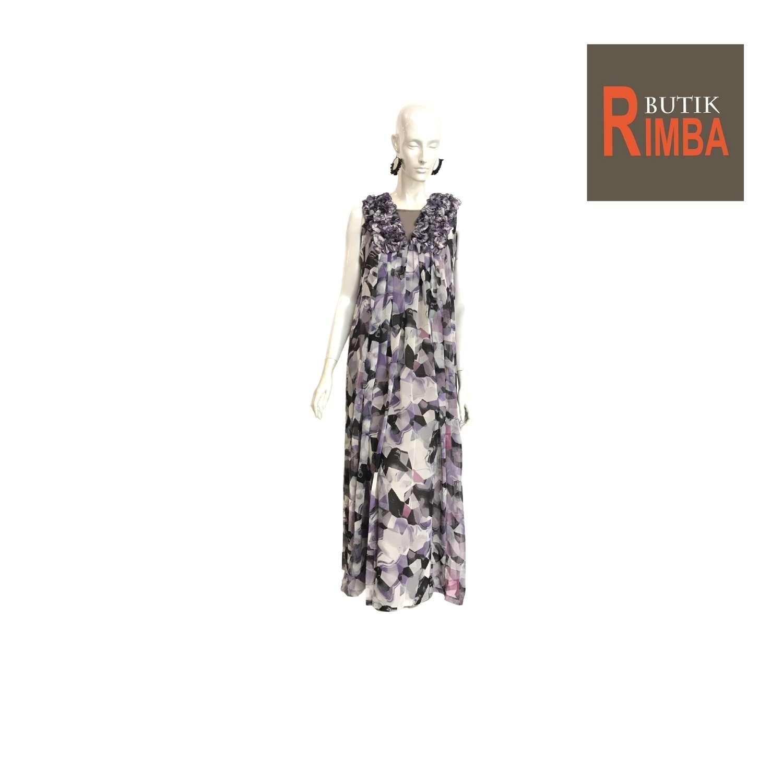 SLEEVELESS CHIFFON FLOWER TRANSPARENT DRESS V-NECK FOR STYLISH WOMEN 01