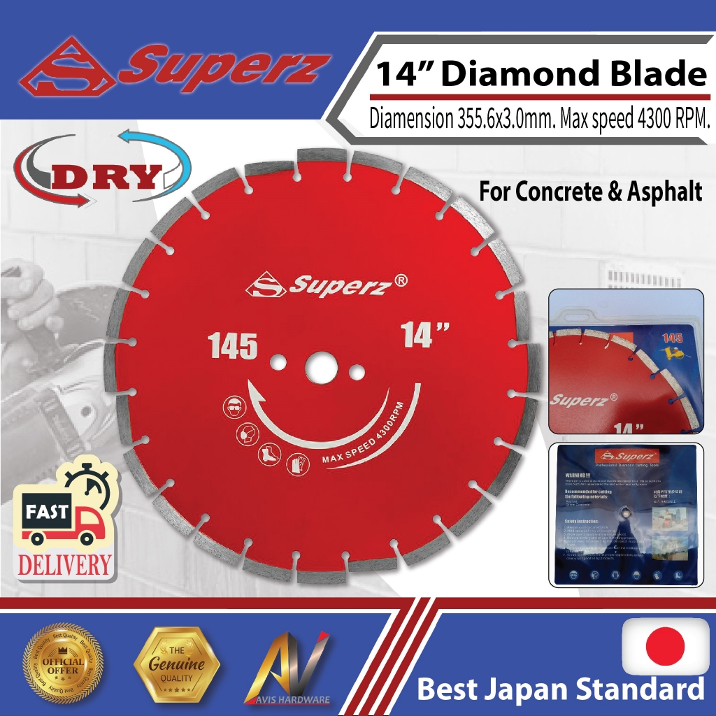superz P145 355mm 14inch Diamond Blade for Asphalt-Concrete