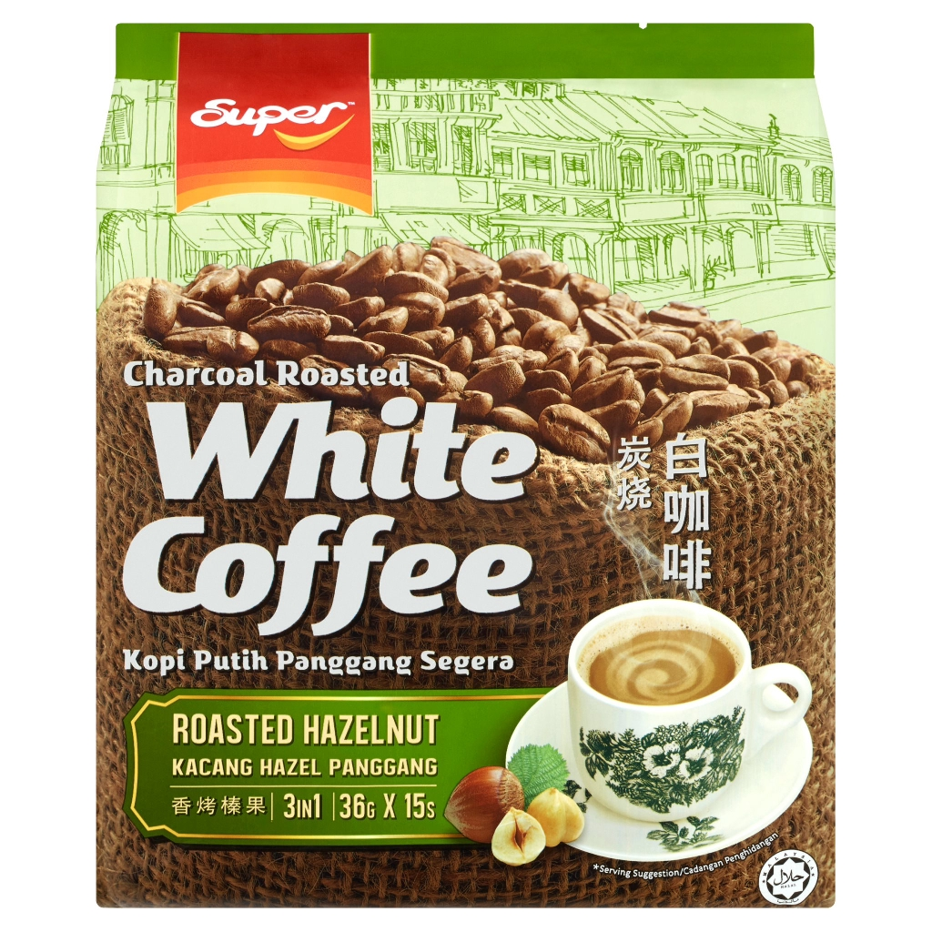 Super 3 in 1 Charcoal White Coffee Roasted Hazelnut (15 x 36g)