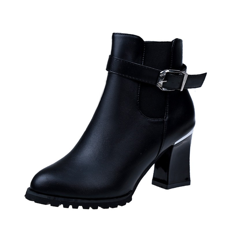 336b02c5bd0 Martin boots belt buckle high heel thick ankle boots