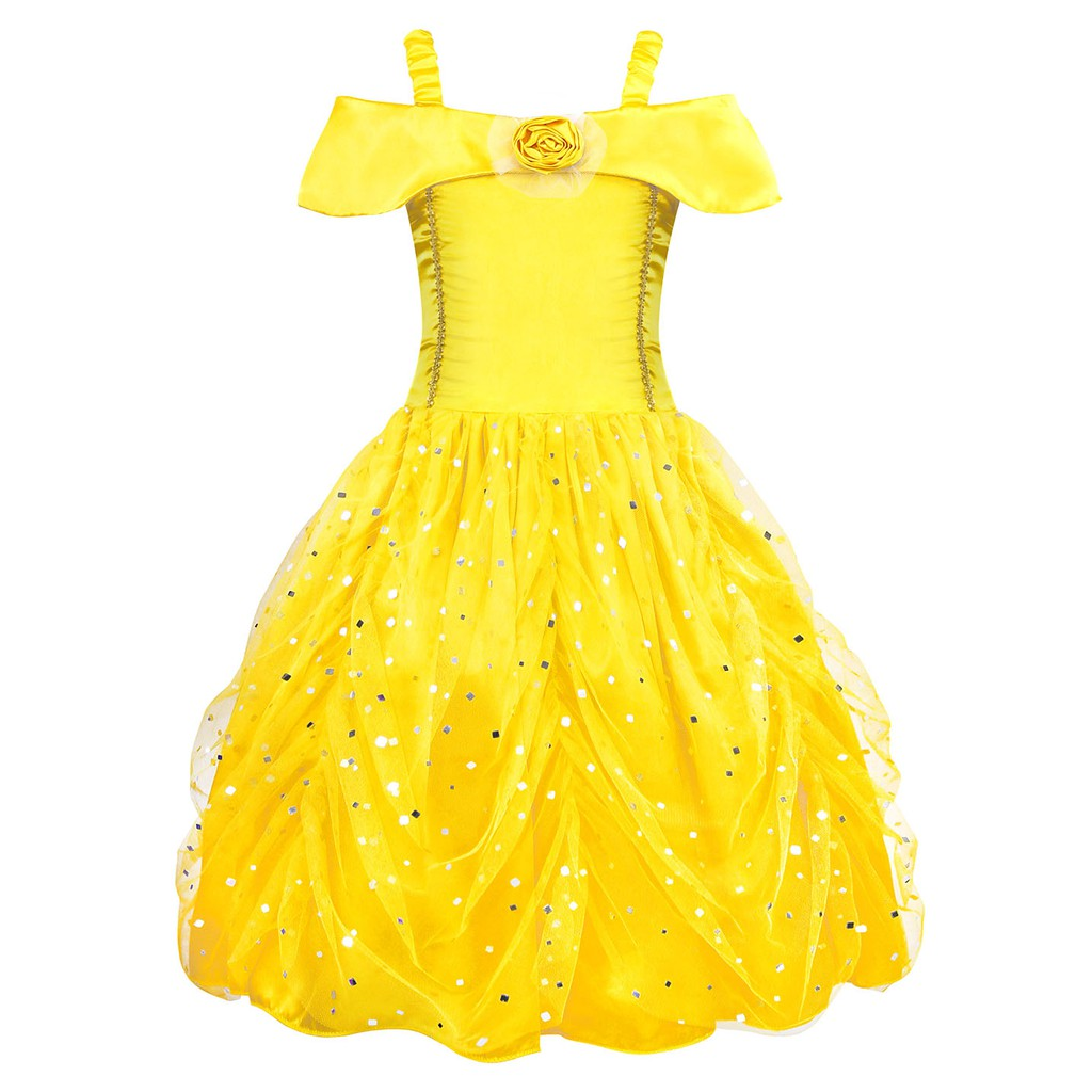 Belle Princess Dress For Girls Cosplay Costume Kids Fancy Party Ball Gown Children Birthday Clothing Christmas Dress Up Shopee Malaysia