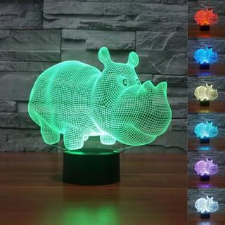 Cute Rhino 3D Night Light 7 Colors Gradient Rhinoceros USB