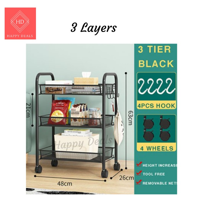 Happy Deals *Ready Stock Malaysia* 3 4 5 Tier Multipurpose Storage Rack Trolley Rack with Wheel