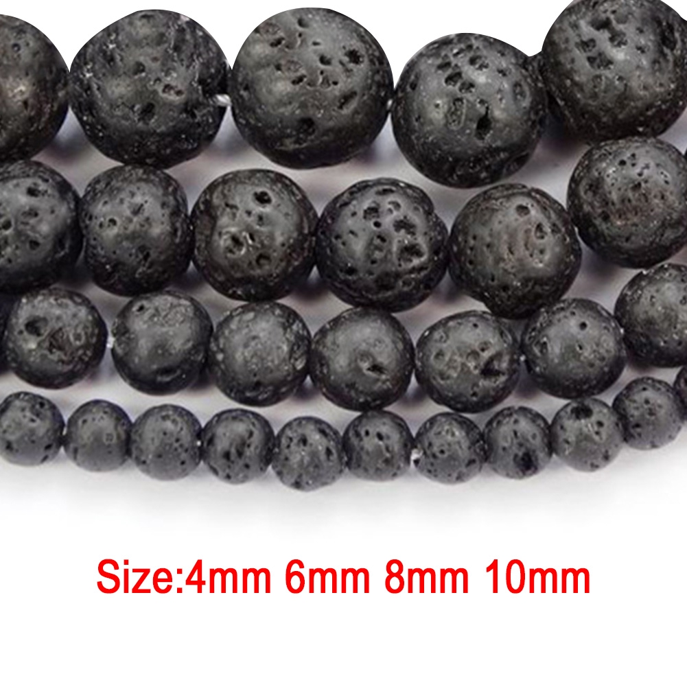 45pcs 1mm hole Round 8~9mm Black for jewellery Natural Lava Beads Strands