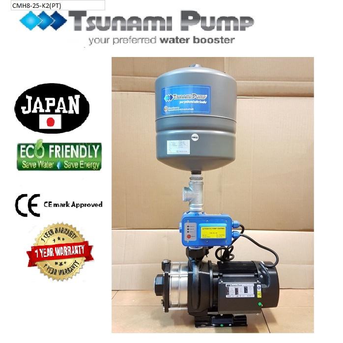 Tsunami CMH8-25-K2(PT)Horizontal Multi-Stage Pump WaterPressure Pump BoosterSuitable for Hotel & Motel【1 Year Warranty】