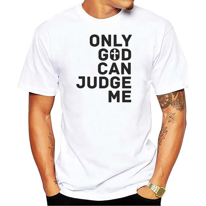 4f064c97dcf20 Men's Cotton T Shirt Only God Can Judge Me Christian Cross Rosary Tattoo  Script Tops Tee Shirts Hip-hop T-shirt Unisex