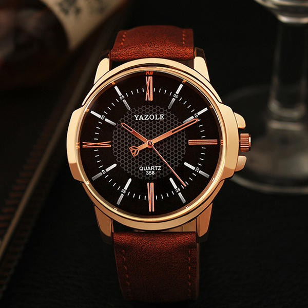 YAZOLE 358 Fashion Men Quartz Watch Luxury Roman Numeral Wrist Watch