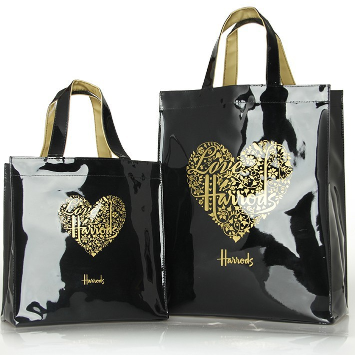 nuovo stile 08145 842a5 HARRODS -LOVE HEART GOLD- PVC WATERPROOF REUSABLE  SHOULDER/TUITION/TOTE/SHOPPER