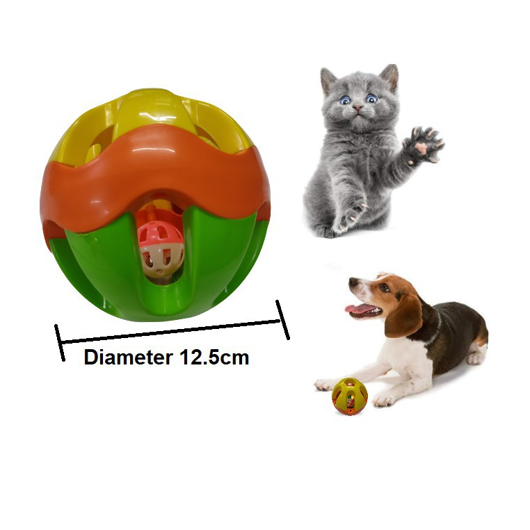 1ST SELECTION Multicolor Pet Ball with Bell | Bola dgn Loceng utk Kucing, Anjing | Cats & Dogs