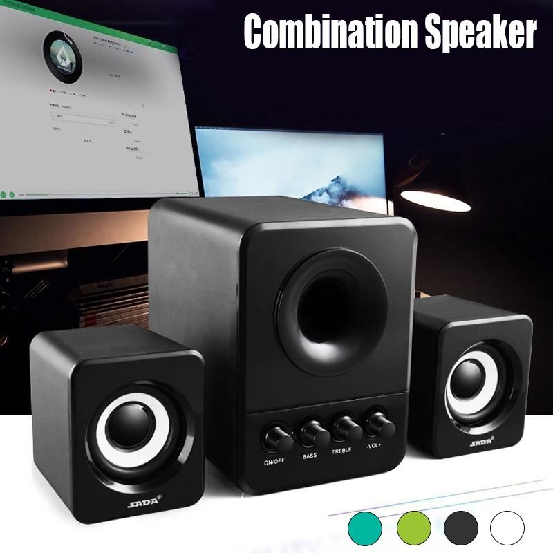 💝💝SADA D-203 Desktop Wired Combination Computer Speaker Column Bass  Speakers