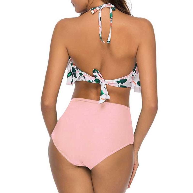 Flower Print Halter Flounce Bikini Women Set (Pink)