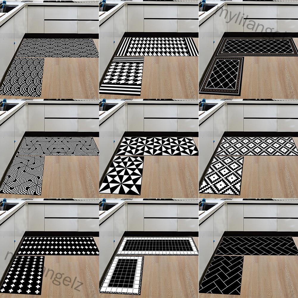 Mylilangelz 2Pcs Rectangle Non-slip Soft Floor Mat Water Absorbing Rug for Home Bathroom Kitchen