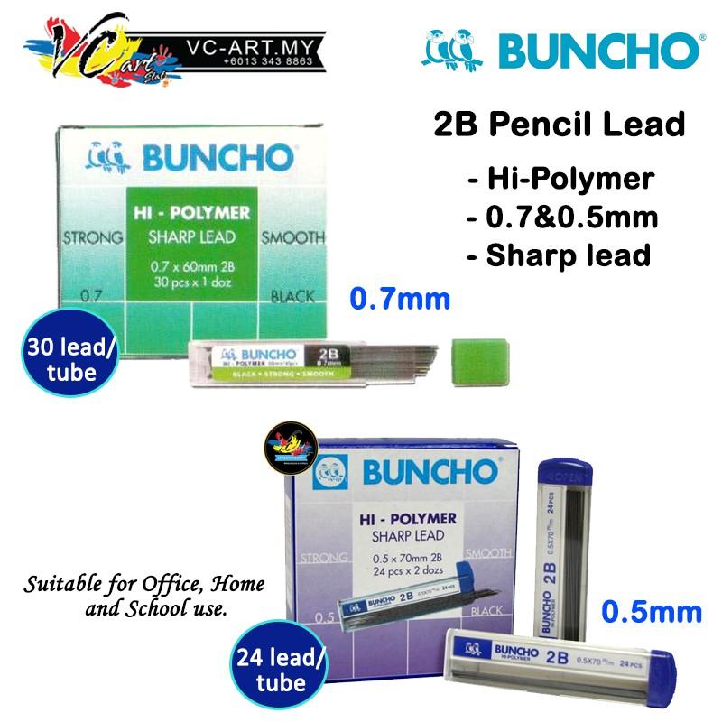 [VC-ART MY] Buncho Hi-Polymer 2B Pencil Lead 0 5/0 7mm - Per Box