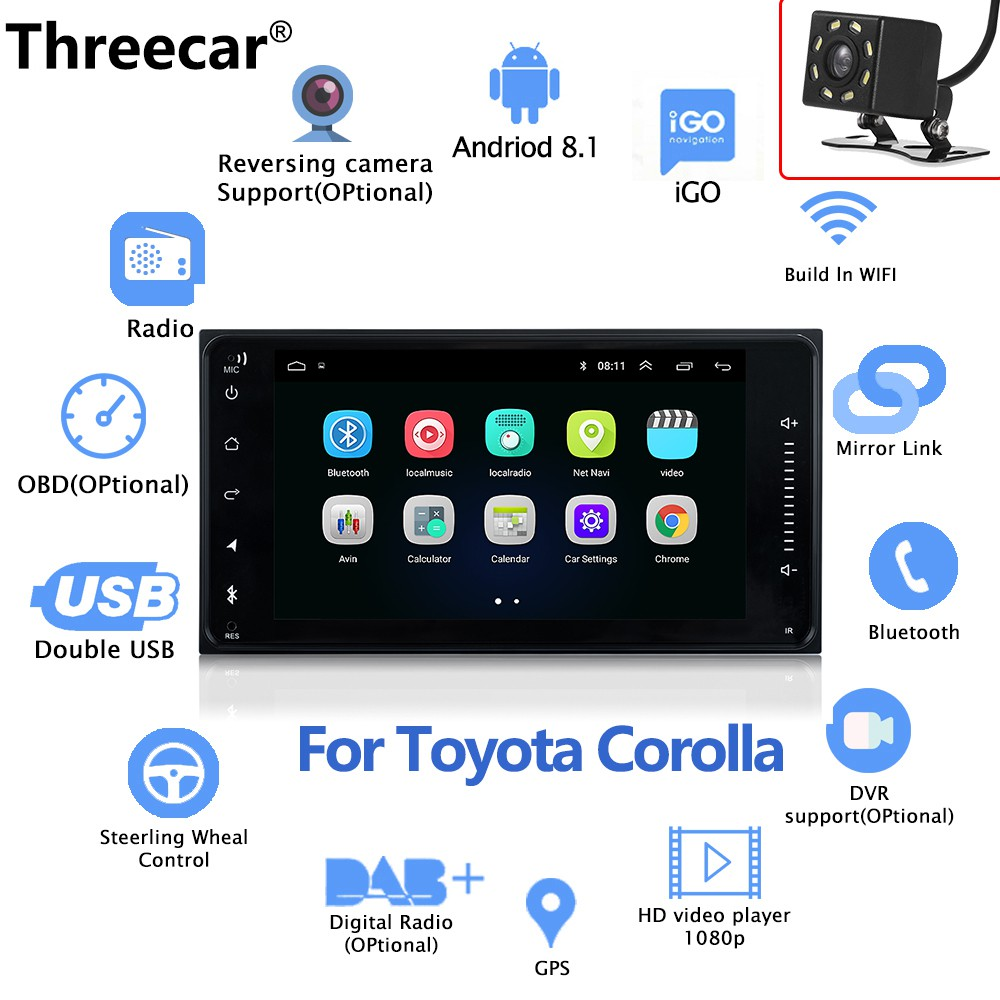 Android 8 0 car DVD player with GPS navigation Radio stereo For Toyota  Corolla