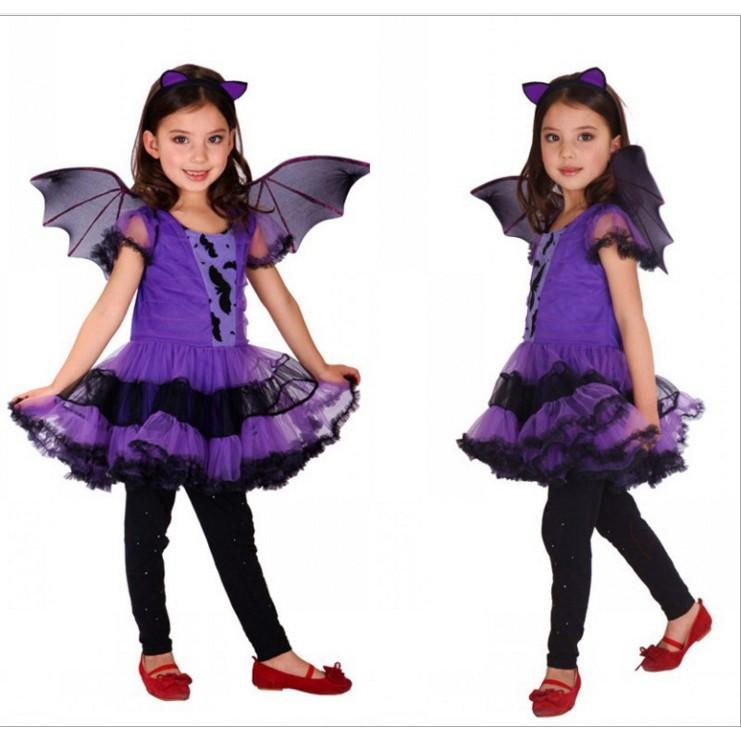 Kids Girls Halloween Party Ball Gown Costume Dress+Hair Hoop+Bat Wing Outfits UK