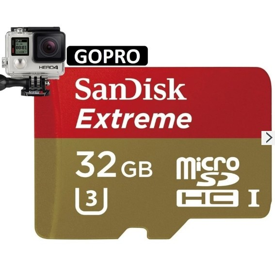 SANDISK EXTREME 32GB 60MB/s UH-I U3 4K Micro SDHC Best for GoPro Action Cam