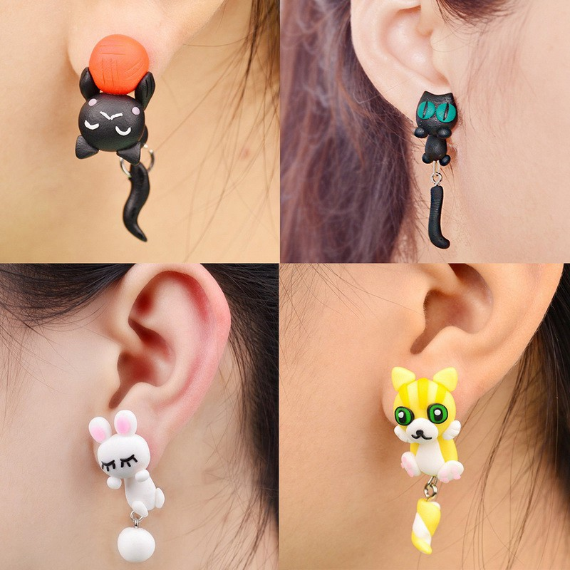 Lovely Cat Ear Stud Earrings Crystal Rhinestone Cat Eye Earring Women Jewelry JB