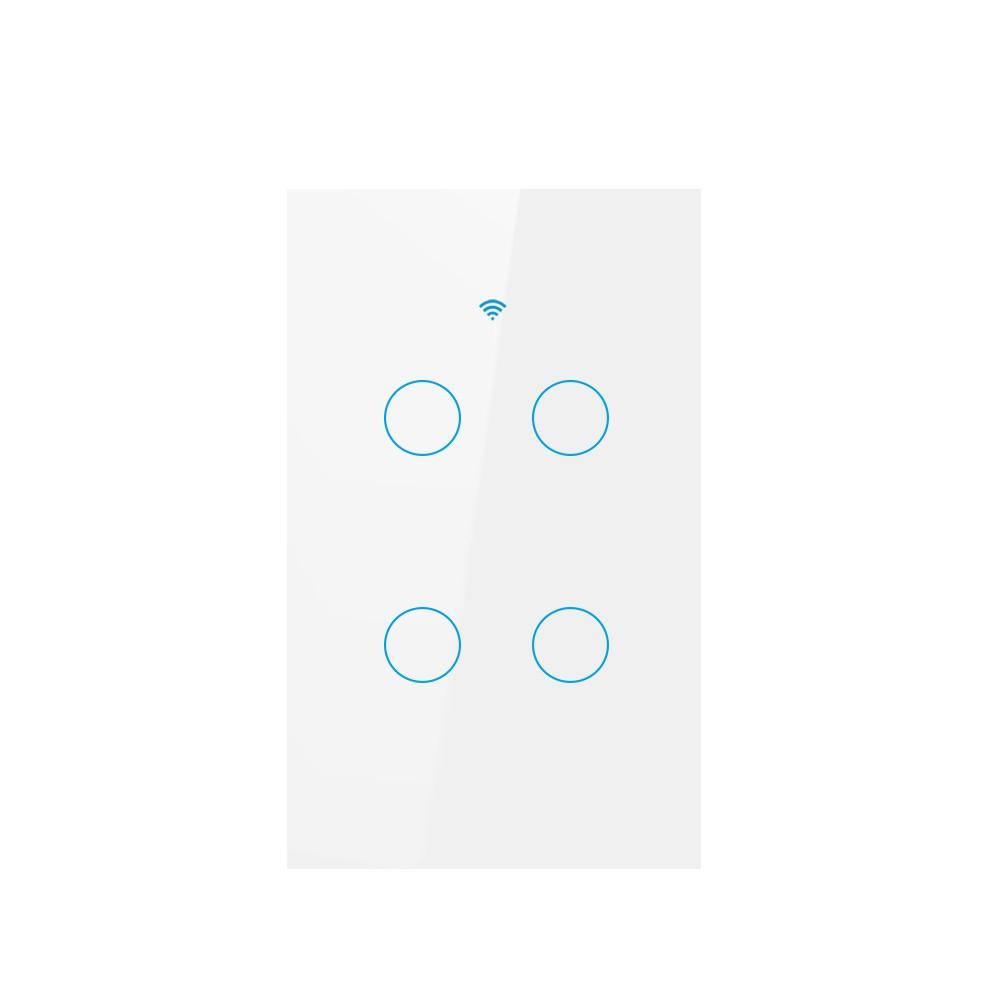 UK/US 4gang Tuya App Touch Light Smart Switch WiFi Wall Switch with Alexa  Google