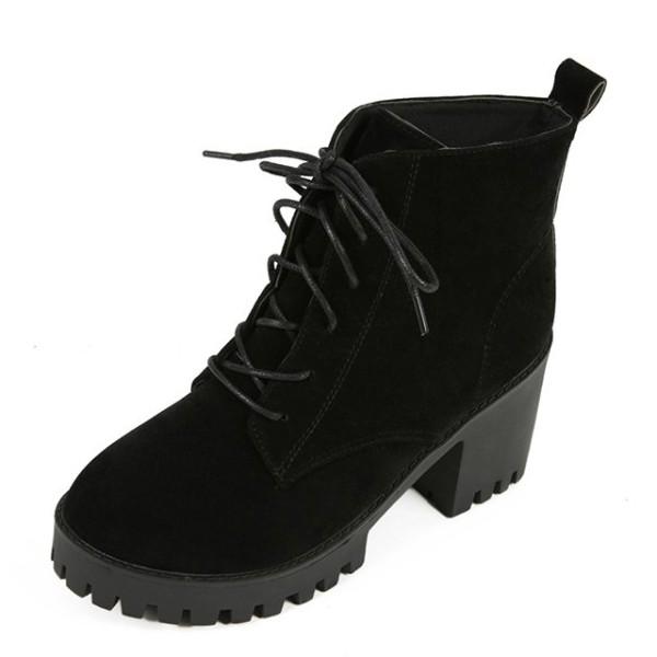Retro Kulit Pendek Flat Shoes Boots Wanita Dr Martens Tebal Kapas Di ... 9b724553b3