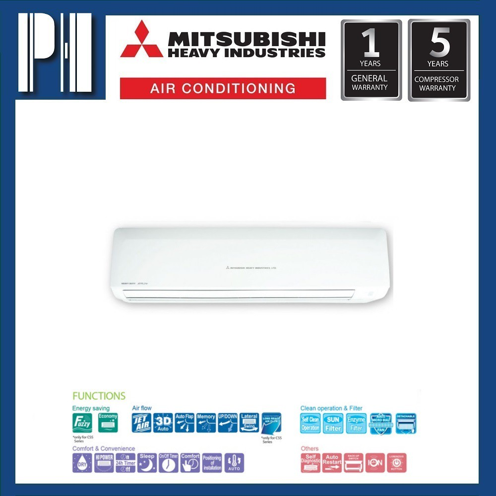 MITSUBISHI HEAVY INDUSTRIES SRK25CSS-S4 2.5HP R410a NON-INVERTER AIR CONDITIONER