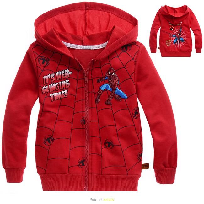 Kids Cloth Tops Spiderman Boy Girl Hoodies Jacket Zipper sweater Outerwear  Coat