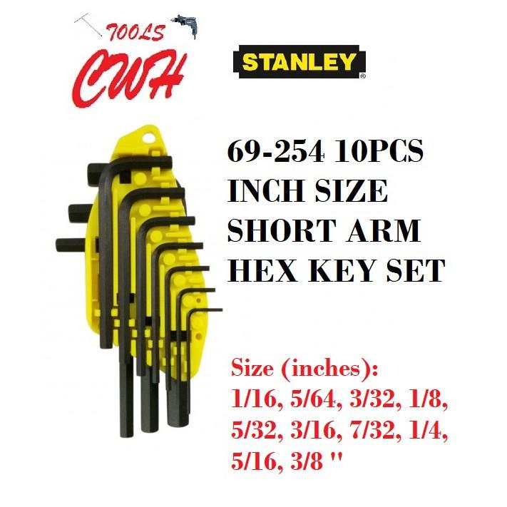 STANLEY 69-254 10PCS SHORT ARM INCH SIZE ALLEN KEY HEX KEY SET L WRENCH DRIVER 69254 S/ARM SHORTARM