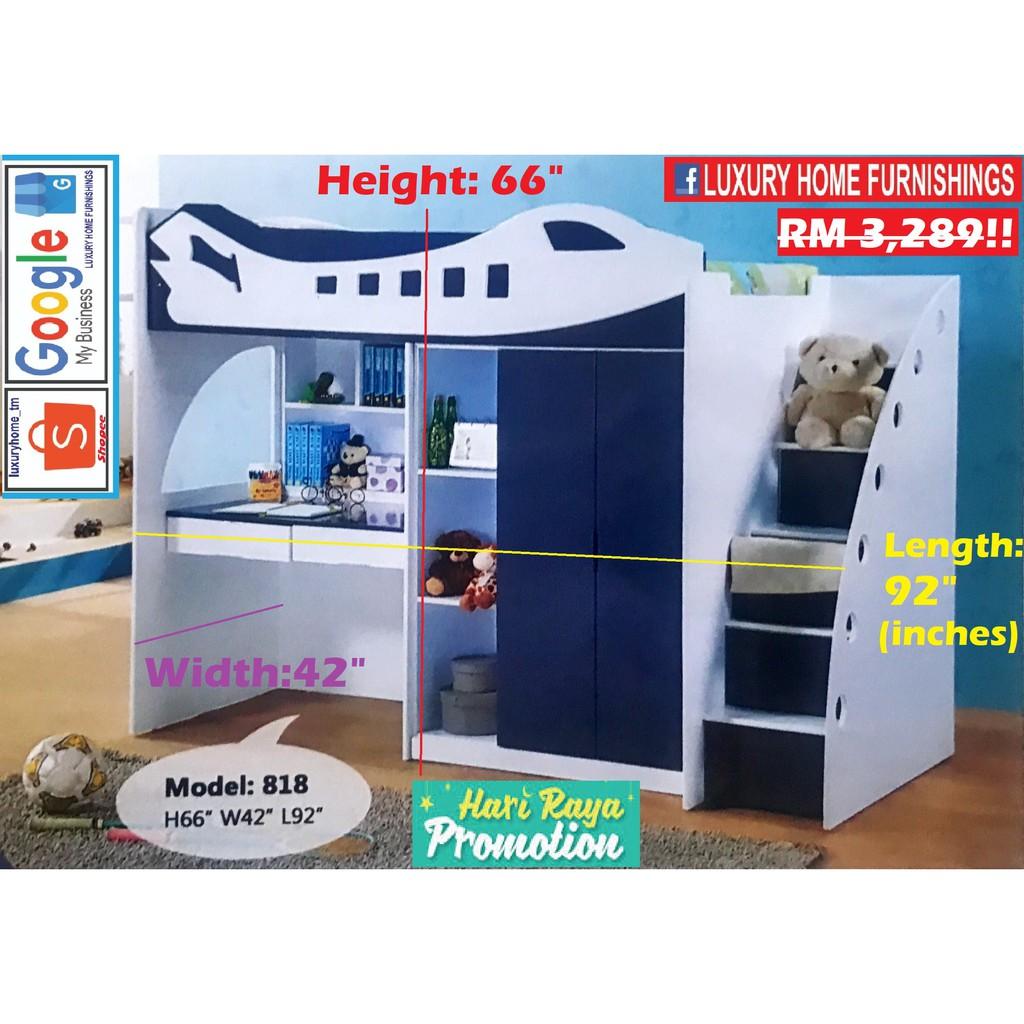 Single upper DECKER BED + Study Desk + Wardrobe + Staircase, SET,  CHILDREN SET COLLECTIONS!! RM 3,289!! Save 35% !!