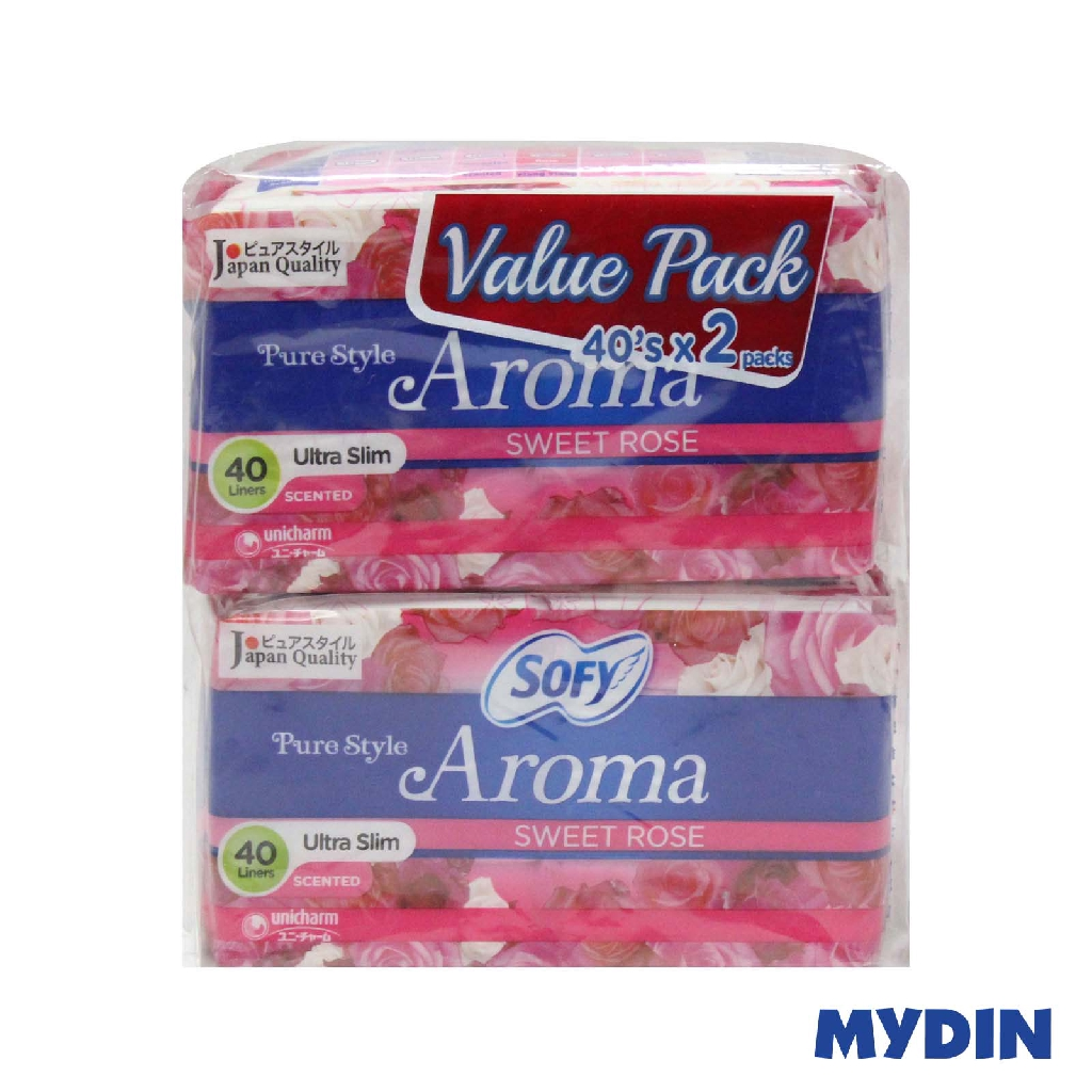 Sofy Pure Style Aroma Sweet Rose Pantyliner Value Pack (40's x 2)