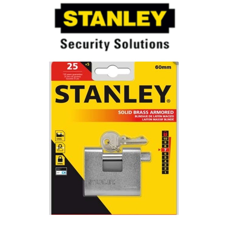 STANLEY S824-624 ARMORED PADLOCKS 60MM SECURITY LOCK