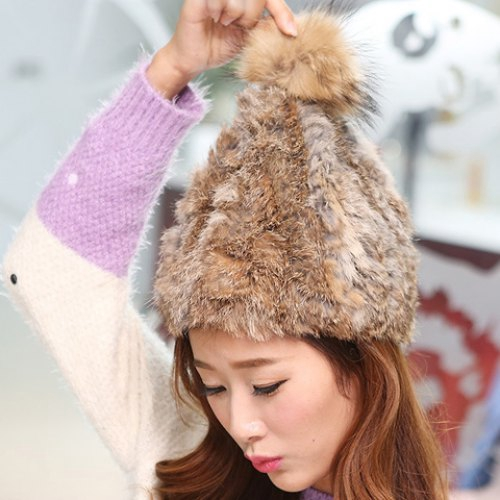 Sweet Fuzzy Ball Embellished Downy Hat For Women