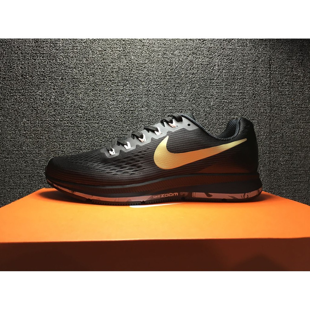 brand new 41a10 d2b13 NIKE AIR ZOOM pegasus 34 black gold sport running shoe for men size 39-45