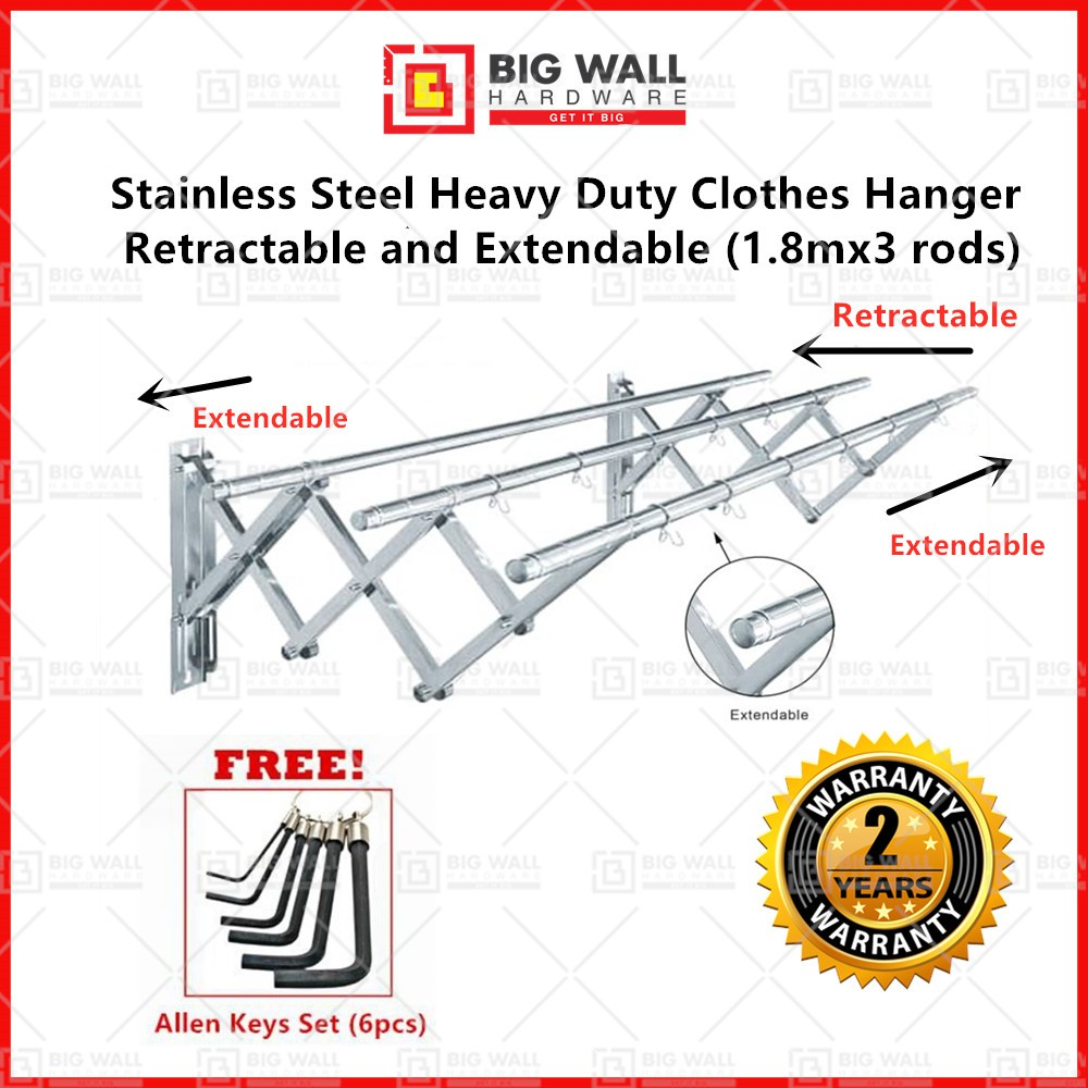 Promo Price OEM 1.8M X 3 Stainless Steel Retractable & Extendable Heavy Duty Clothes Hanger Free Allen Keys Big Wall